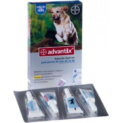 Advantix Solucion Spot-on para perros de mas de 10Kg hasta 25 Kg.Caja con 4 pipetas de 2,5 ml
