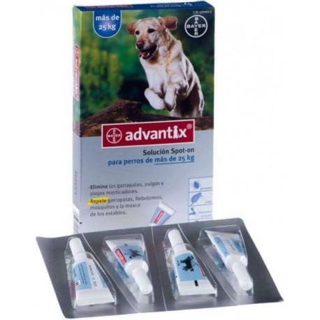 Advantix Solucion Spot-on para perros de mas de 10Kg hasta 25 Kg.Caja con 4 pipetas de 2,5 ml